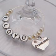 Groomsman Personalised Wine Glass Charm